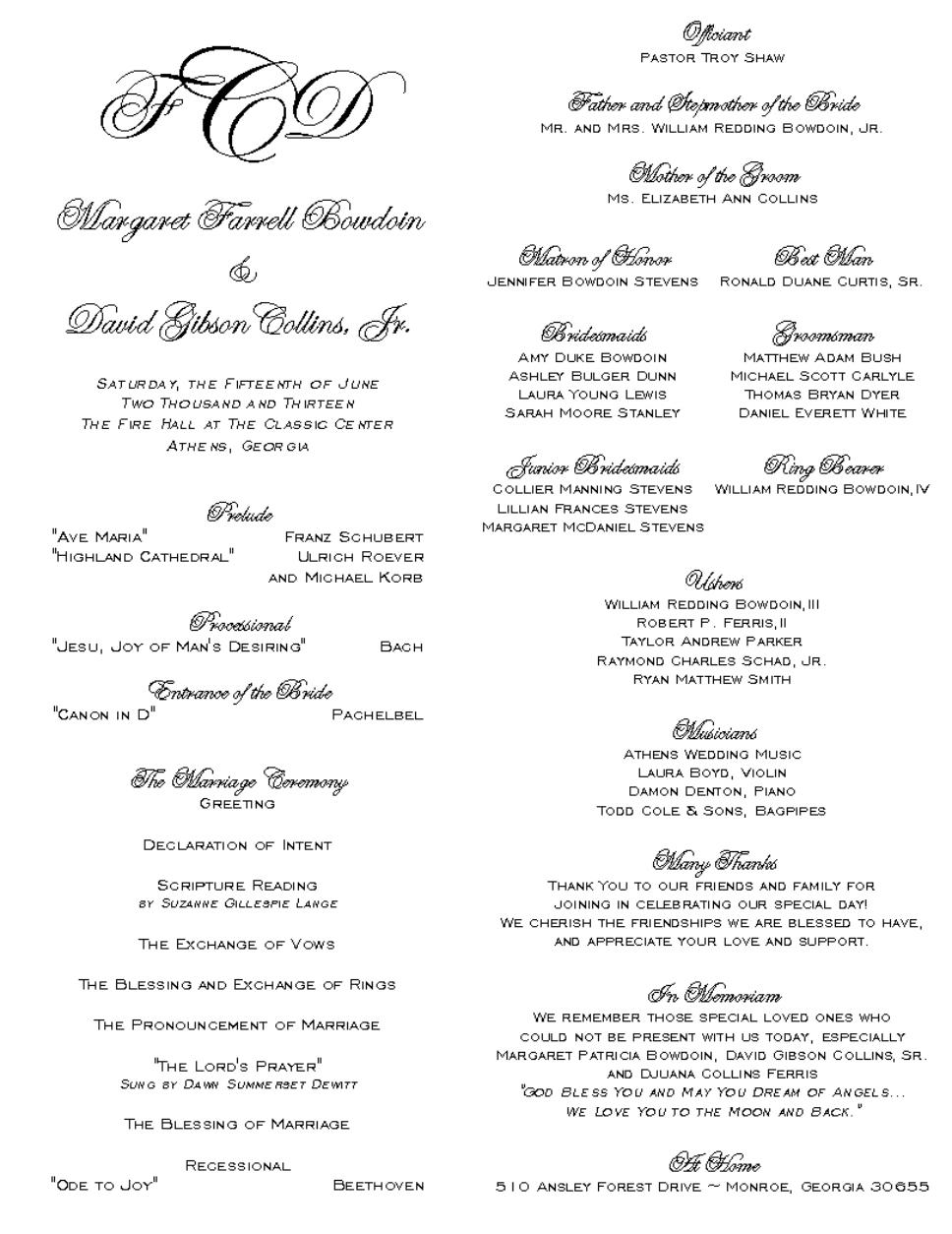 Shannons Calligraphy ~ Wedding Programs