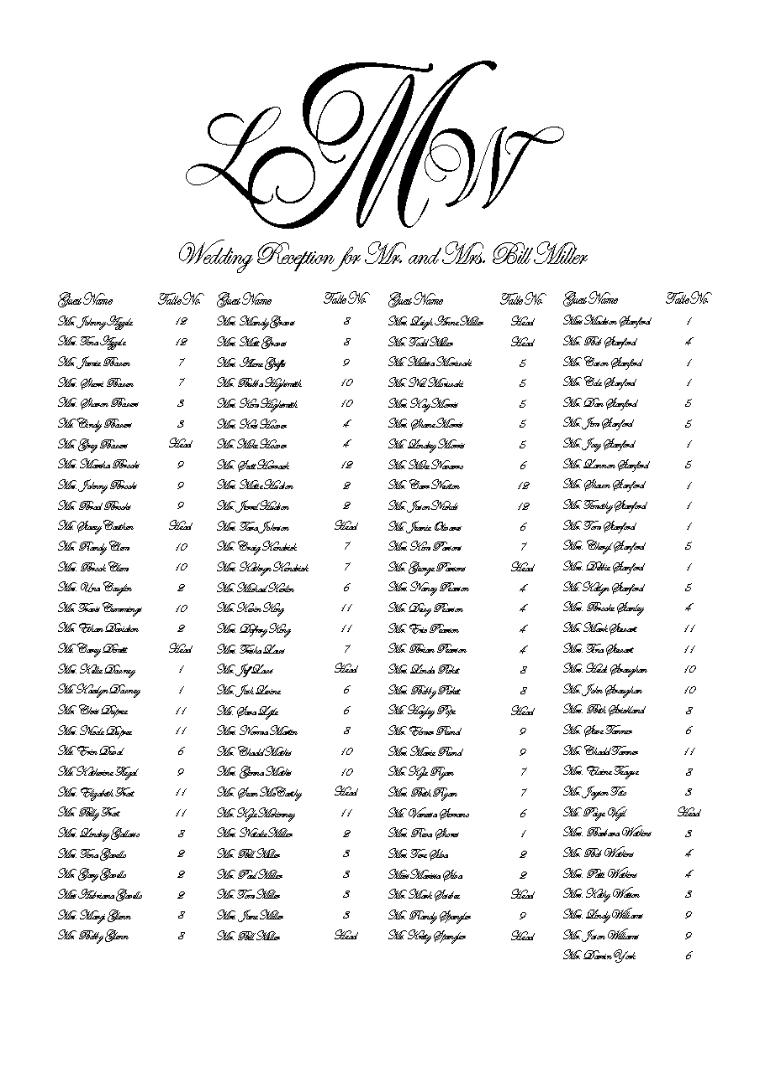 Machine Calligraphy Seating Chart